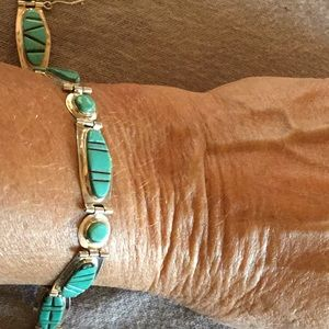 BRACELET NATIVE AMERICAN STERLING SILVER TURQUOISE
